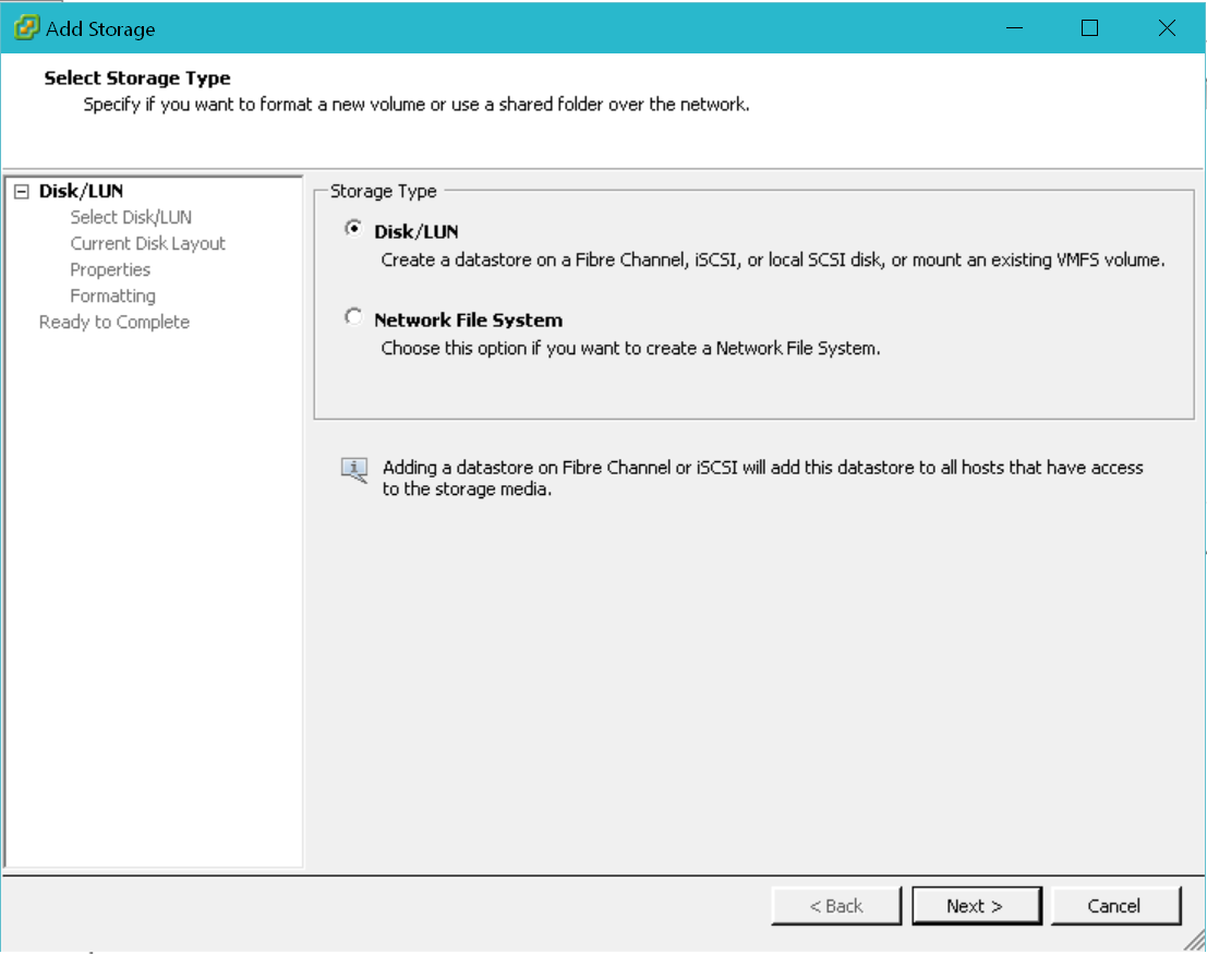 Configure VMware ESXi Datastore