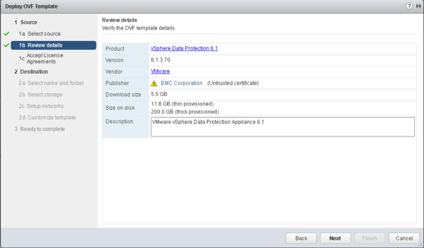 domalab.com VMware VDP install ovf details