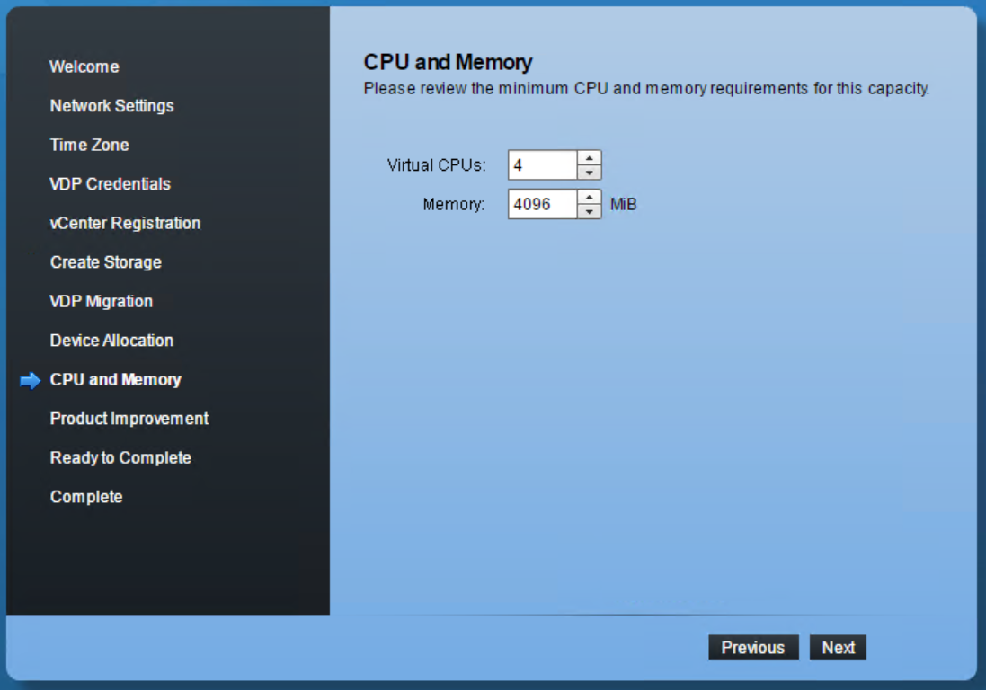 domalab.com VMware VDP configuration CPU and memory