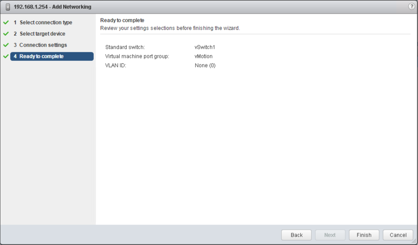 domalab.com vSphere Standard Switches wizard complete