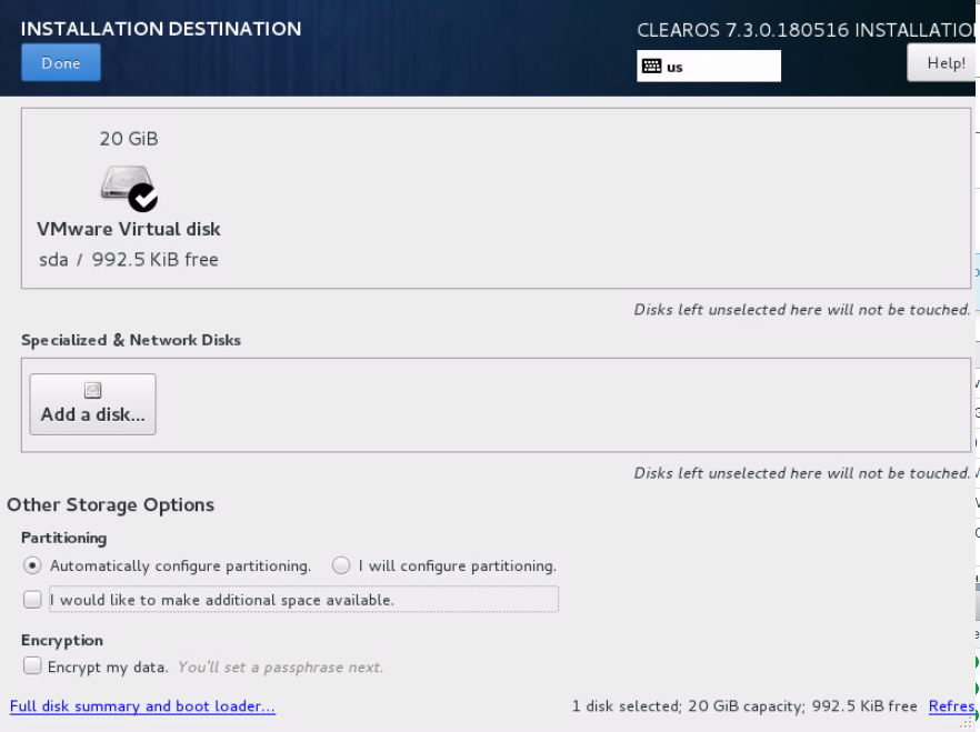 domalab.com Install ClearOS disk partition