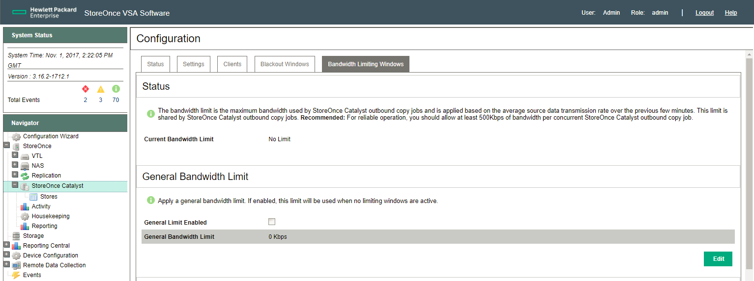 HPE StoreOnce Catalyst Bandwidth limiting window