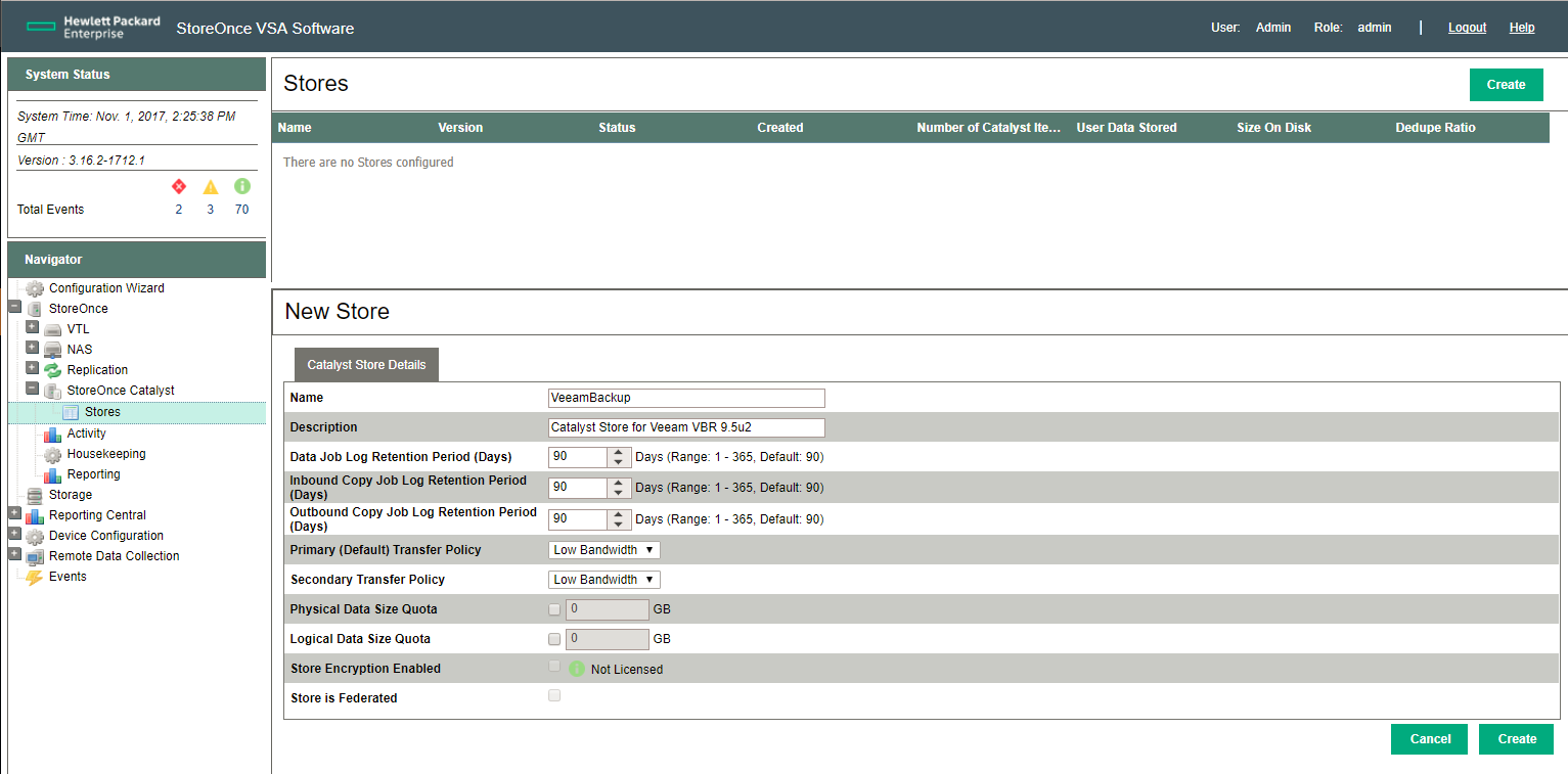 HPE StoreOnce Catalyst Store configuration