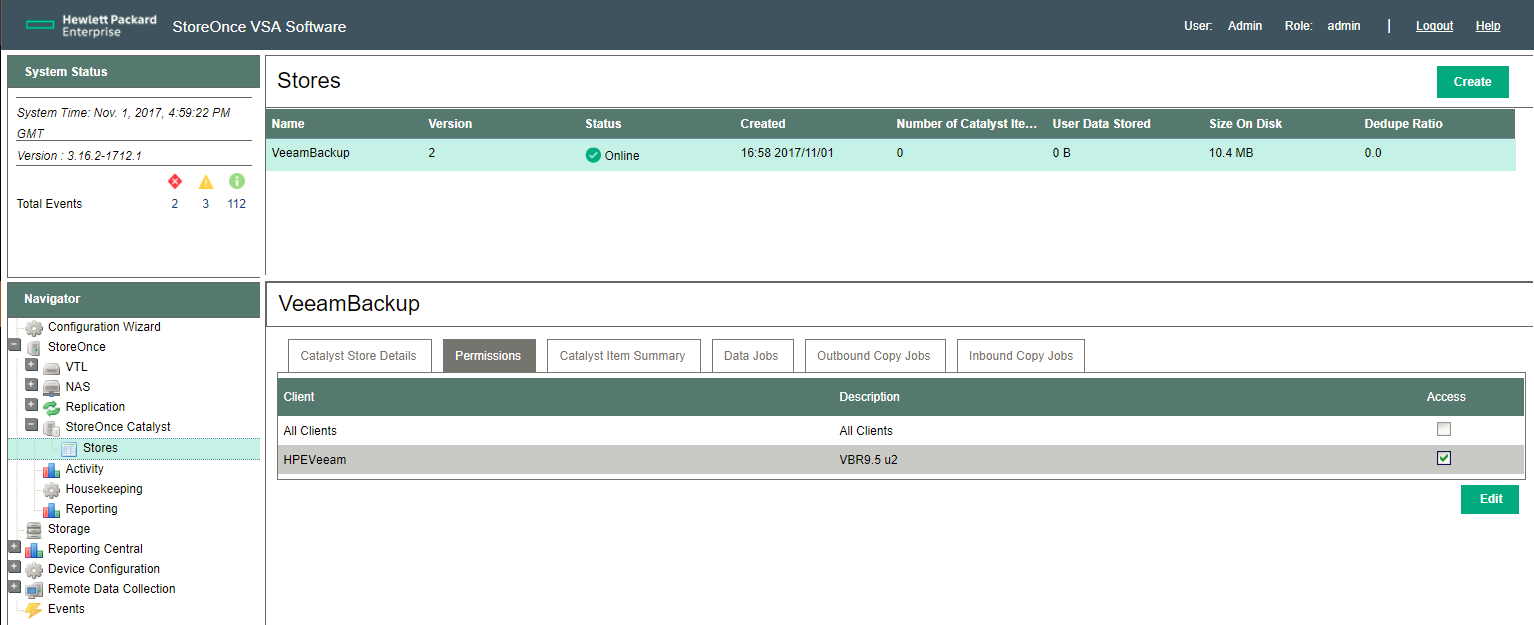 HPE StoreOnce Catalyst Store permissions