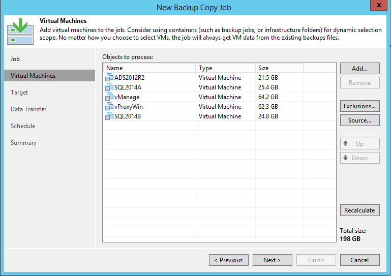 Veeam Backup Copy Job VM selection