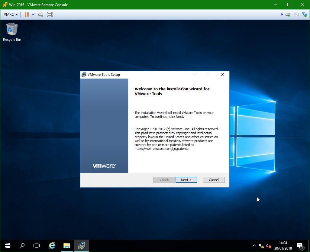 domalab.com Windows Server 2016 VMware Tools wizard