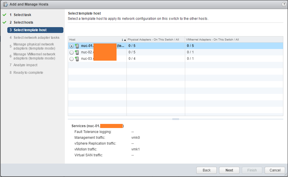 Migrate Storage select template Host