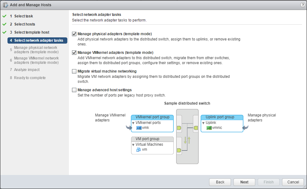 Migrate Storage select network adapter