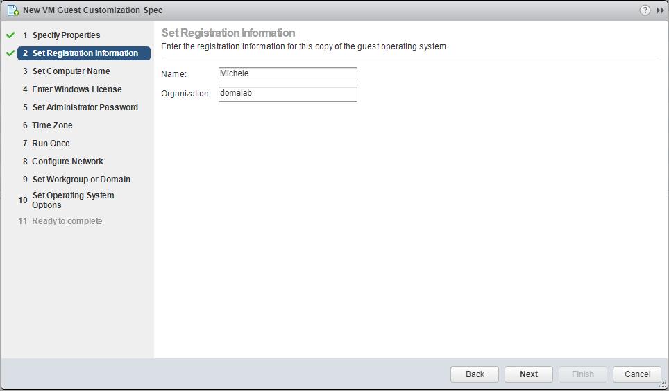 domalab.com VMware Custom Specification Registration information
