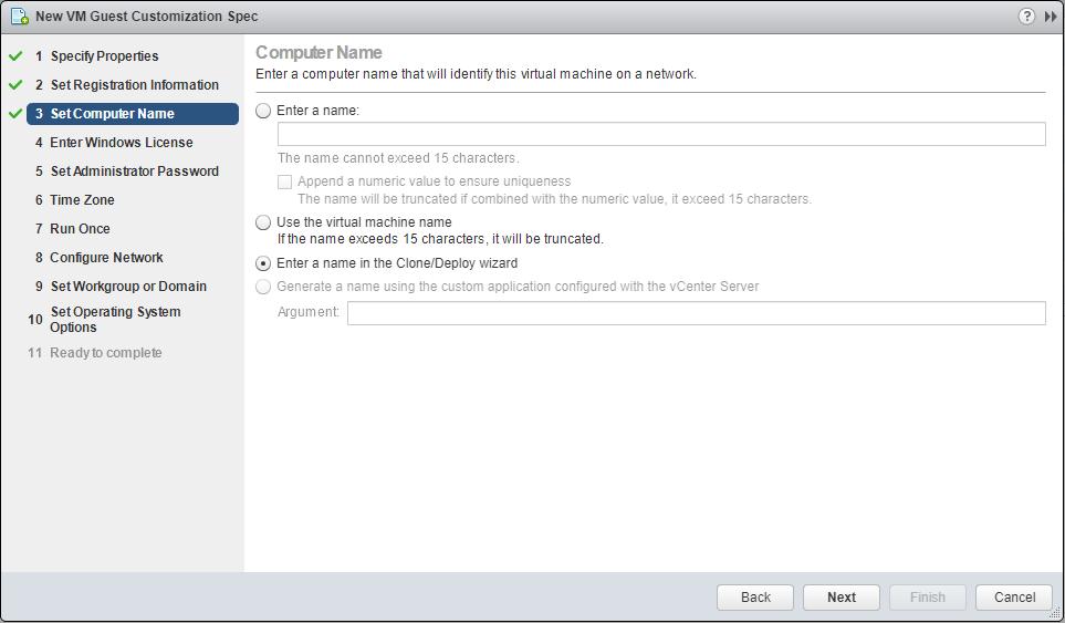 domalab.com VMware Custom Specification Computer name