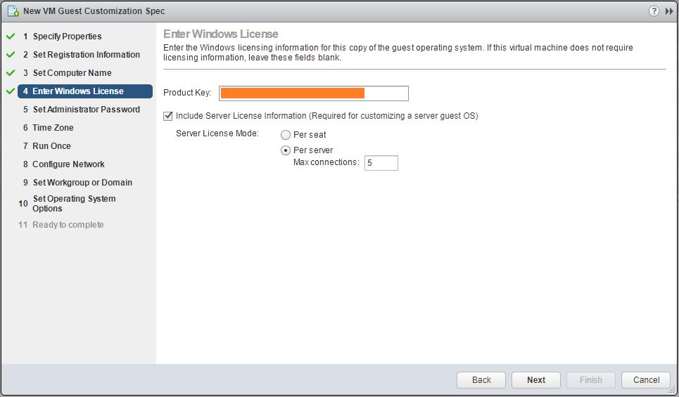 domalab.com VMware Custom Specification Windows License