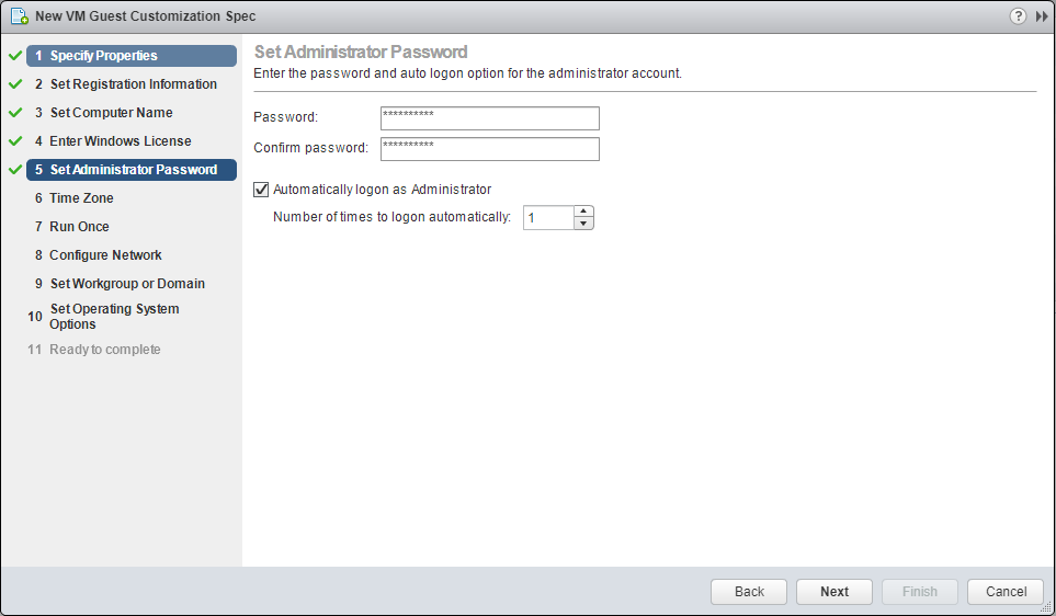 domalab.com VMware Custom Specification Administrator Password