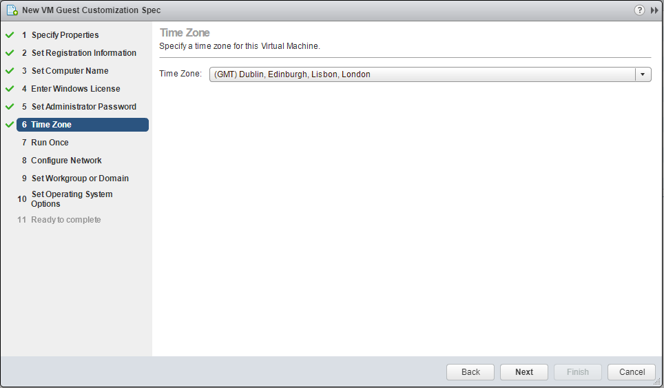 domalab.com VMware Custom Specification Time Zone