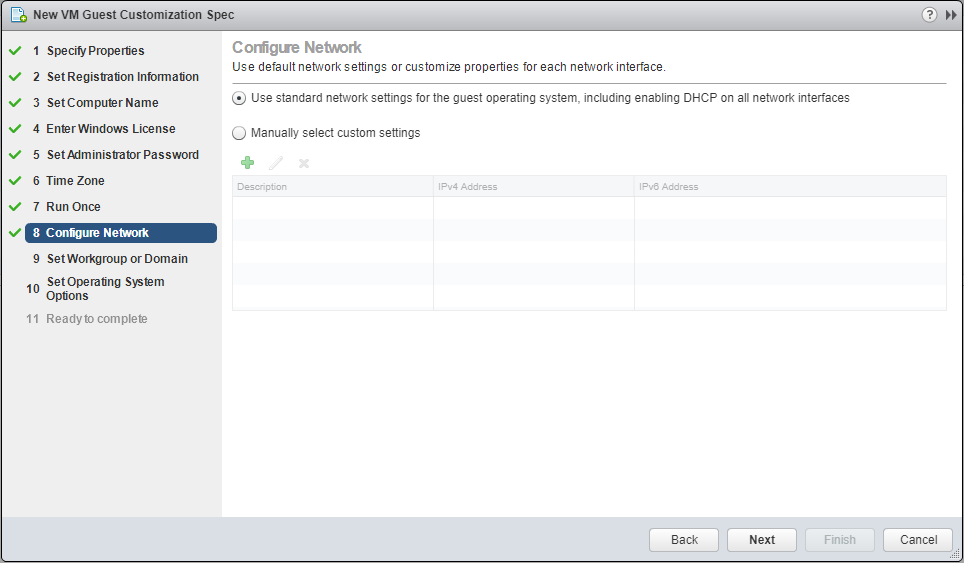 domalab.com VMware Custom Specification Configure Network