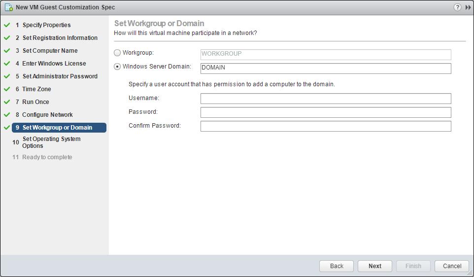 domalab.com VMware Custom Specification Configure Domain
