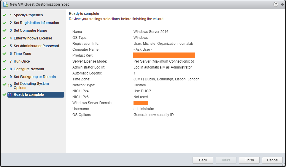 domalab.com VMware Custom Specification Wizard Summary