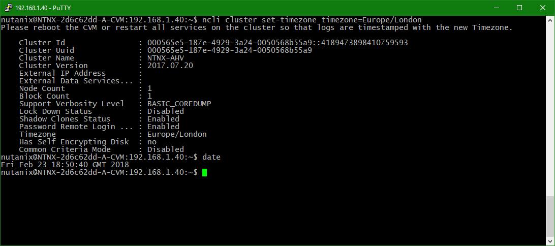 domalab.com configure Nutanix timezone check date