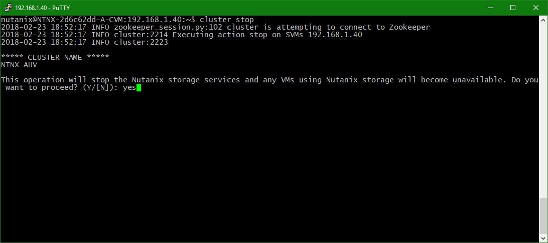 domalab.com configure Nutanix timezone cluster stop confirm